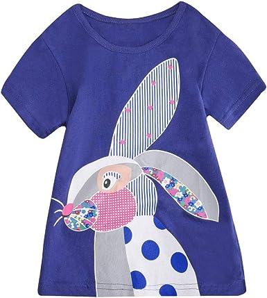 Brand New Next Girls Appliqué Cute Bunny Striped Short Sleeve Top Age 4-5 yrs .