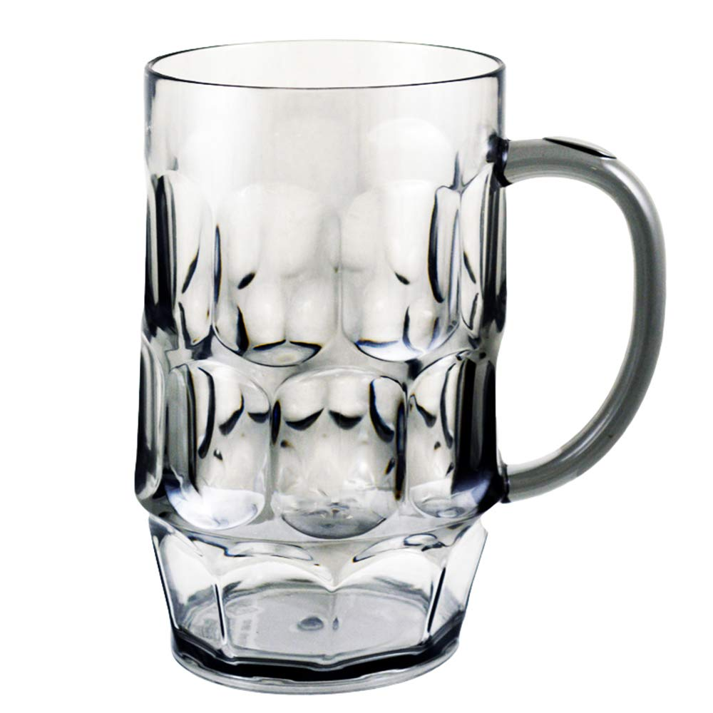 Plastic Beer Mugs, Smoke Color, Set of 1 Giant 26oz for Daily Use & Oktoberfest, Weighs MERELY 5oz.-EASY to Hold & Handle, STRESSFREE On Arm & Fingers, Dimple Stein, Rugged Acrylic Shatter Proof (1) USA_Glassware_Mugs