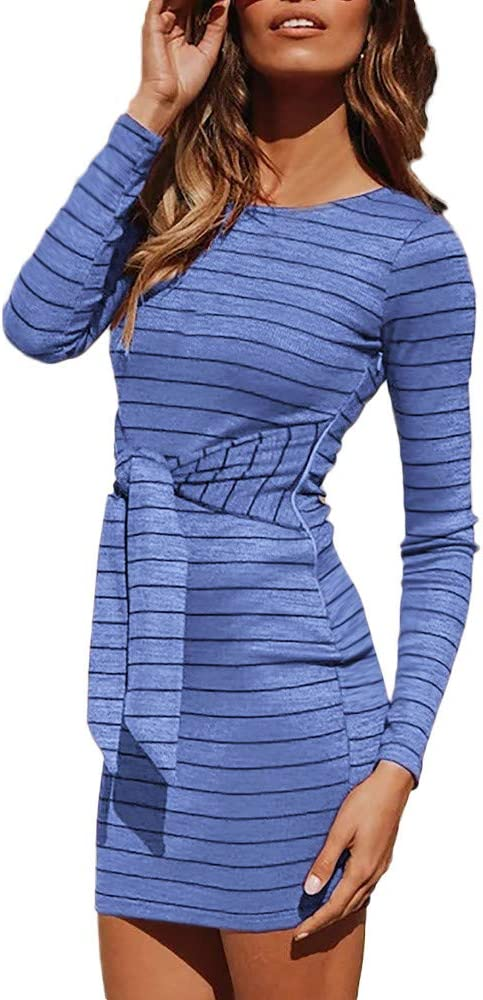 HEETEY sukienka damska casual O-dekolt luźne paski bandaż długi rękaw sukienka plaża odzież rekreacyjna: Odzież