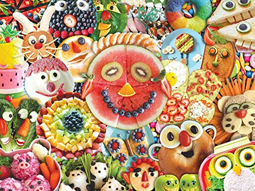 MasterPieces Trendz Funny Face Food Collage of Food Large EZ Grip Jigsaw Puzzle, 300-Piece ()