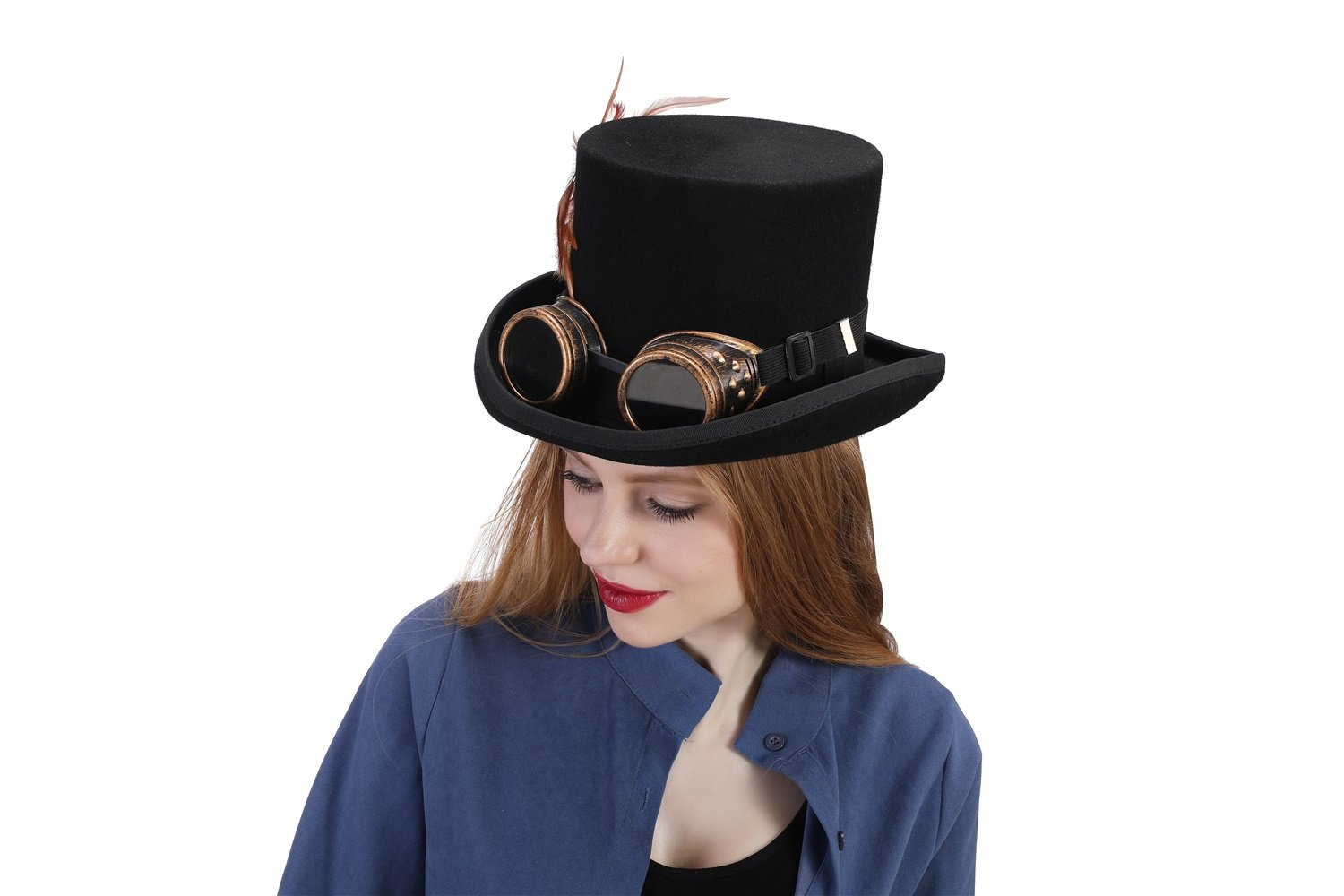 LL Women's Top Hats Steampunk Hat for Women with Feather (Color : Black, Size : 59CM)