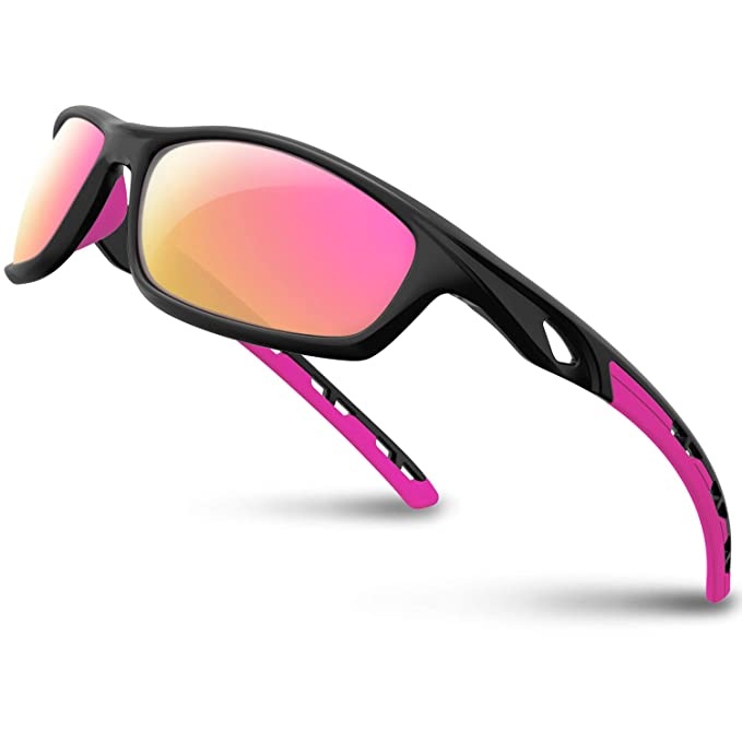RIVBOS Polarized Sports Sunglasses Driving Sun Glasses Shades for Men Women Tr 90 Unbreakable Frame for Cycling Baseball Running Rb833 (Black&Pink) best women's polarized sunglasses