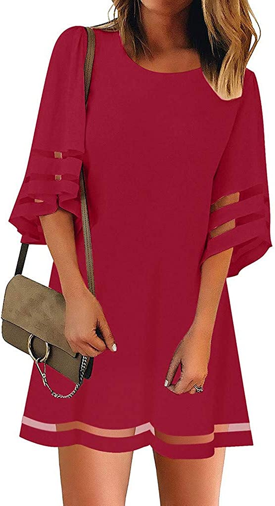 Dresses for Women Gibobby Summer V Neck Mini Dress Casual Solid Mesh Panel 3//4 Bell Sleeve Loose Cocktail Party Dresses