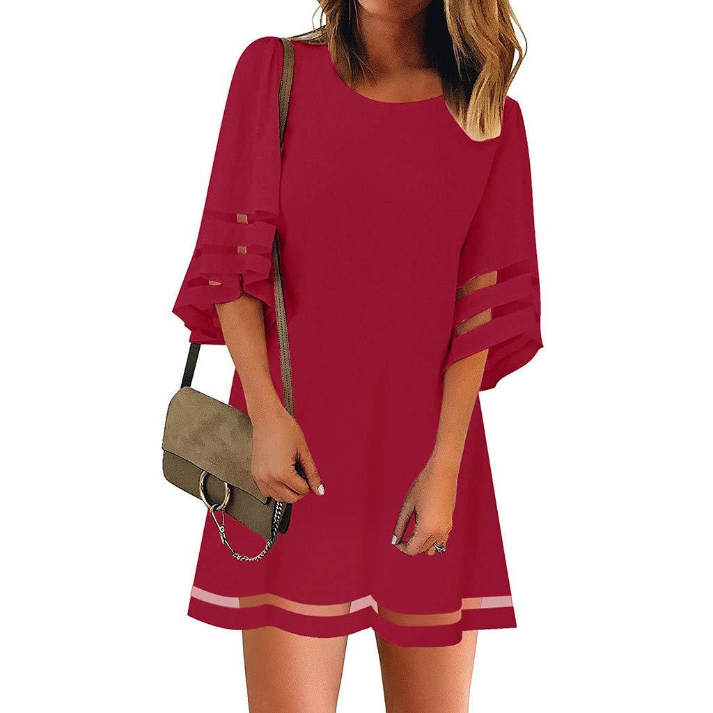 Peigen Women's O Neck Dress Mesh Panel Blouse 3/4 Bell Sleeve Loose Top Shirt Dress