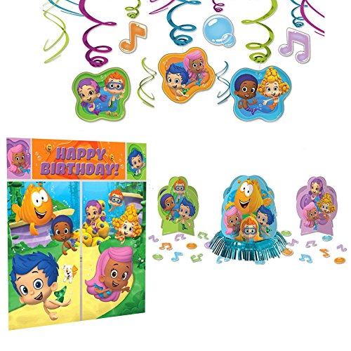 Bubble Guppies Party Decoration Supplies Pack - Scene Setter, Table Decorating Kit, and Hanging (Bubble Guppies Party Decorations)