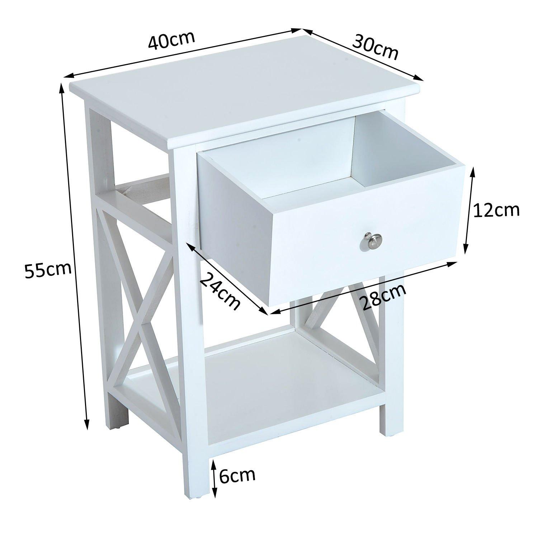 40 x 30 x 55cm homcom Comodino per Camera da Letto Tavolino dAppoggio con Cassetto in Legno Bianco