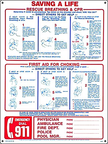 (Poolmaster Sign for Residential or Commercial Swimming Pools, Combo Save a Life/Emergency)