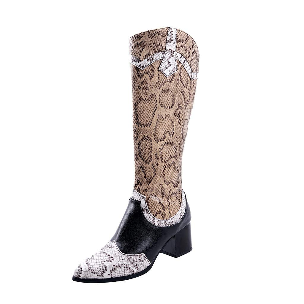 Benficial Boots for Women,Women's Flats Pointed Toe Low-heele Snake Print Western Rodeo Cowboy Boots Black by Benficial