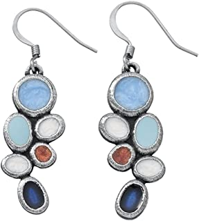 product image for DANFORTH - Lindy/Sky Earrings - 1 1/4 Inch - Pewter - Surgical Steel Wires - Handcrafted - USA