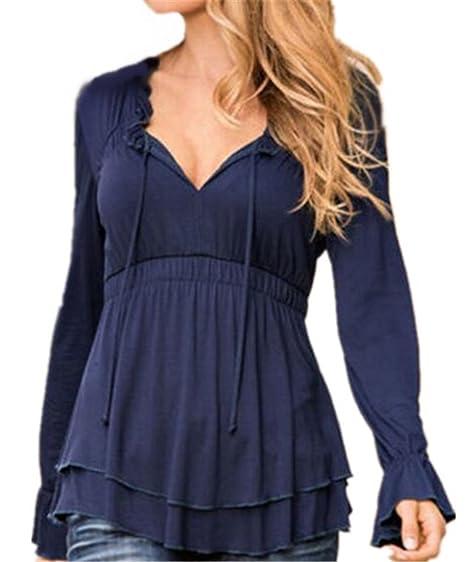Tayaho Camisa Mangas Largas Mujer Camiseta Color SÓLido Vintage Camisas V Cuello Sexy Blusa Elegante Clasicos T-shirt Casual Ocasionales Top Bonitas Suelto: ...
