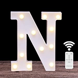 LED Marquee Letter Lights 26 Alphabet Light Up Name Sign Remote Control Letter Lamp for Wedding Birthday Party Battery Powered Christmas Lamp Home Bar Decoration(letter N-Remote control)