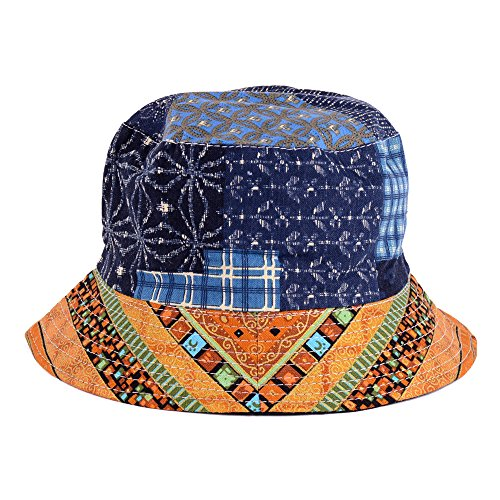 BYOS Fashion Cotton Unisex Summer Printed Bucket Sun Hat Cap, Various Patterns Available (Hippyie Patch Multi -