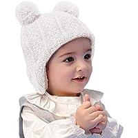 LLmoway Baby Infant Toddler Fleece Lined Knit Hat Kids Winter Earflap Pom Beanie