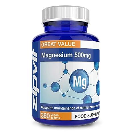 Magnesio 500mg | 360 comprimidos | Promueve el buen funcionamiento óseo y muscular | SUMINISTRO DE 12 MESES
