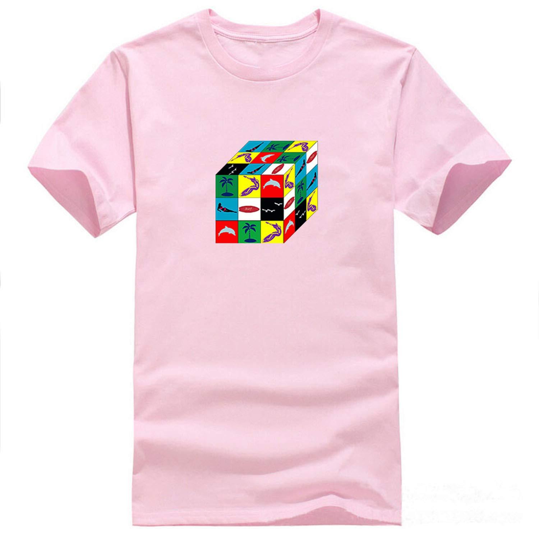 Fish Surfed Cube Print T Shirt Fashion Casual Funny Tee Hip Hop Streetwear T Shirts 5345