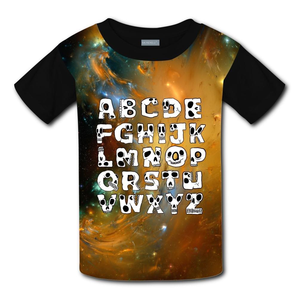 Aslgisy Funny Skull ABC Casual T-Shirt Short Sleeve for Kids