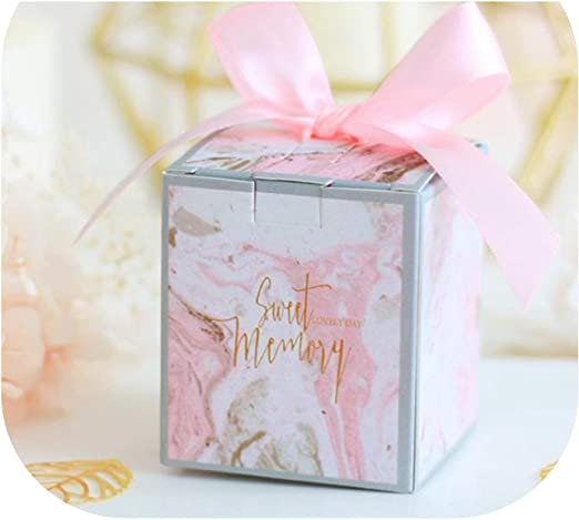 Silver Wedding Favor Boxes and Decoration Hexagonal Wedding Candy Favor Boxes with Ribbons for Wedding and Bridal Shower Party LASLU Marble Favor Boxes 50pcs, White Diamond Type