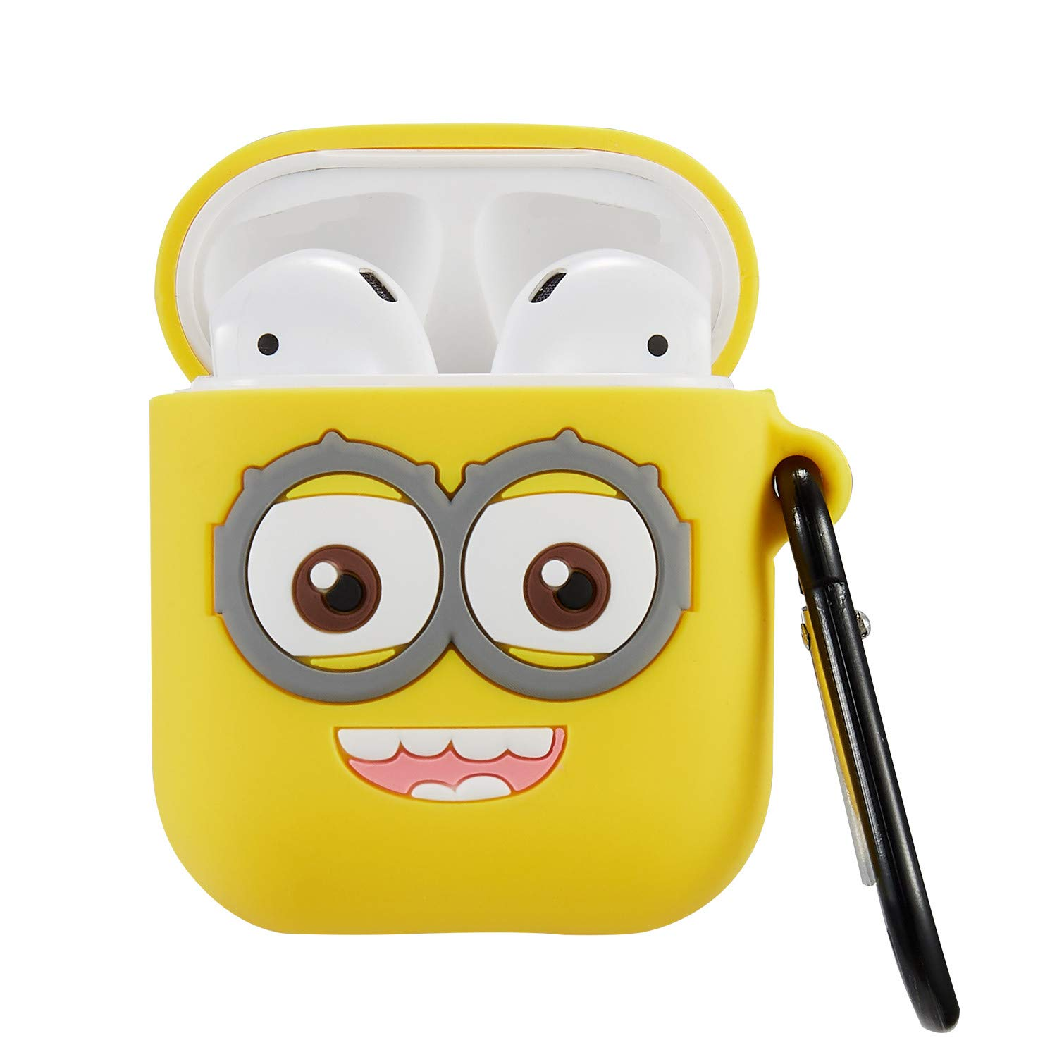 4a07a65fc Punswan Two Eye Yellow Airpod Case for Apple Airpods 1&2,Cute 3D Funny  Cartoon Character Soft Silicone Catalyst Cover,Kawaii Fun Cool Keychain  Design Skin ...