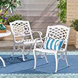 Great Deal Furniture 305314 Brody Outdoor Cast Aluminum Arm Chair (Set of 2), White
