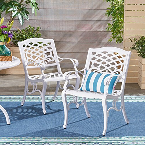 Great Deal Furniture 305314 Brody Outdoor Cast Aluminum Arm Chair Set of 2 , White