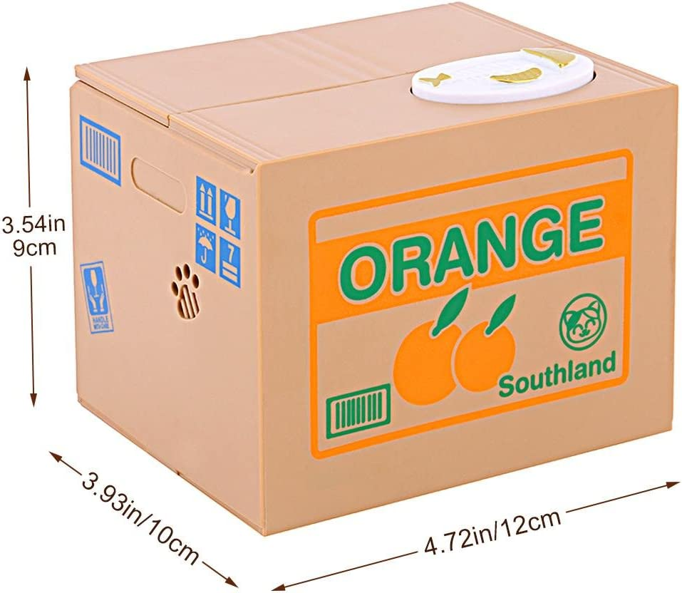Chat Blanc Orange 12 x 10 x 9cm Ejoyous Tirelire de Chat Automatique Bo/îte Tirelire /Économiser Piece de Monnaie Design Cute Animal Tirelire Sauver Cents Coins pour Les Enfants Pr/ésent
