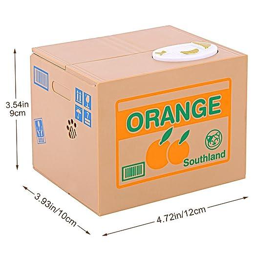 Zerone Caja de Dinero Electrónico, Moneda Robo Gato Ciento Centavo Alcancía Cumpleaños Automática para Los Niños (Gato Naranja): Amazon.es: Hogar