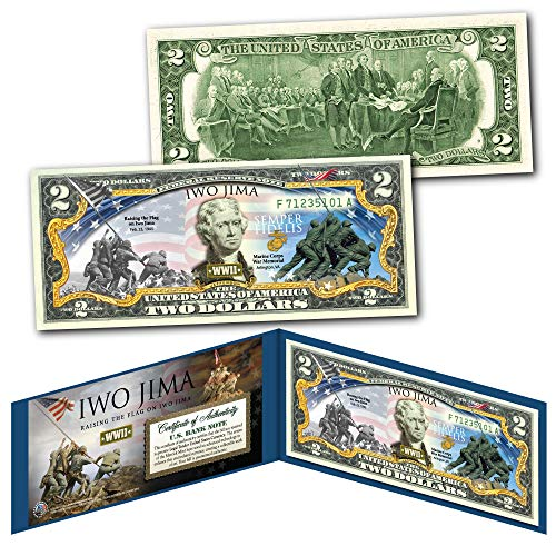 IWO JIMA Raising the Flag WWII Official Legal Tender $2 U.S. Bill - THEN & NOW (Signing Of The Declaration Of Independence Facts)