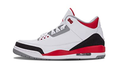 innovative design 56111 ea956 Image Unavailable. Image not available for. Color  Nike Mens Air Jordan 3  Retro White Fire Red-Silver-Black Leather Basketball