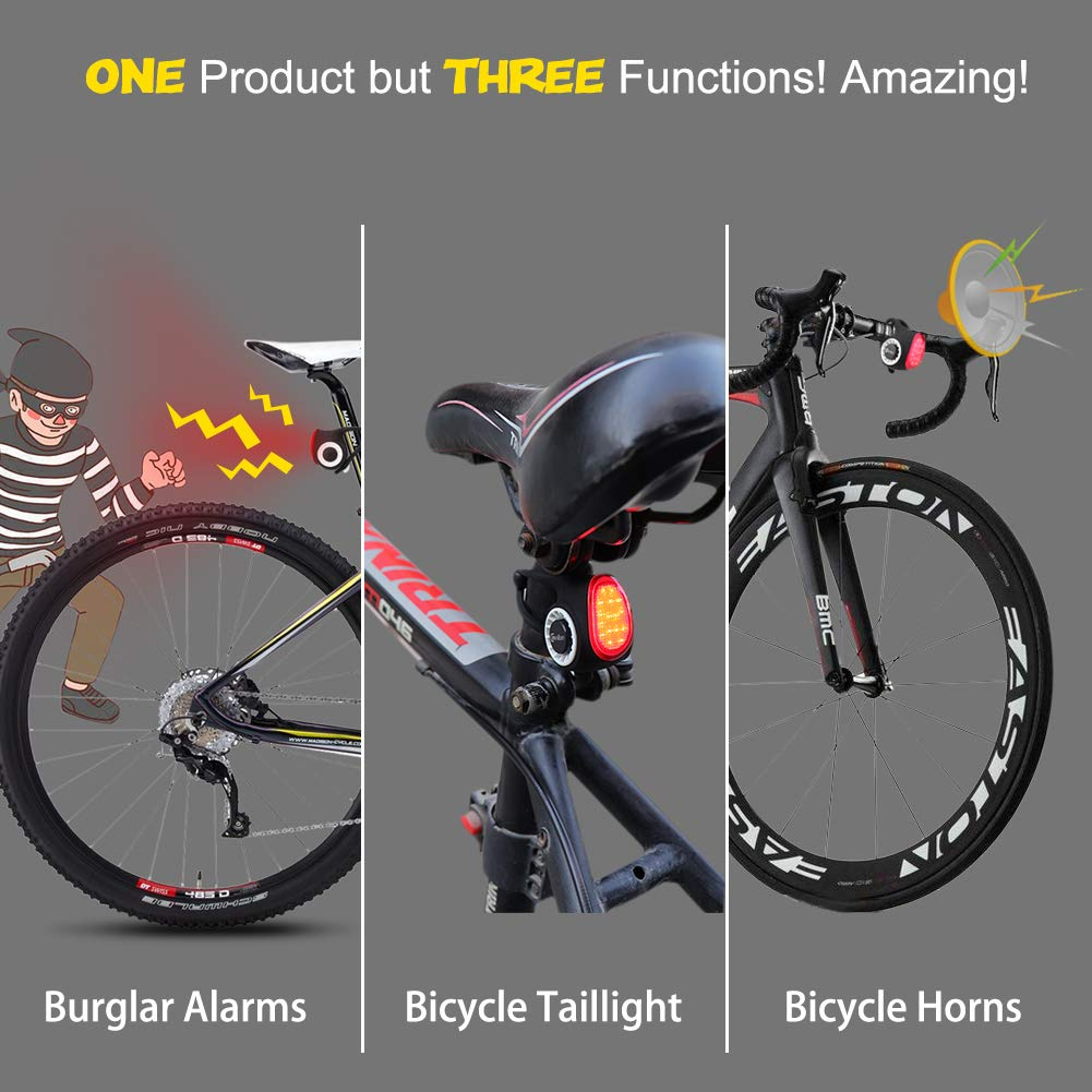 Meilan USB Rechargeable LED Bike Tail Light IPX6 Waterproof Bike Rear Lights Super Bright Bicycle Taillight with Wireless Remote Controller, Bike ...