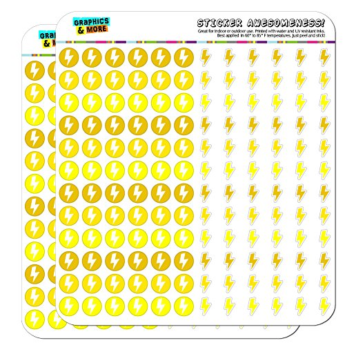 Lightning Bolt Storm Weather Dots Planner Scrapbooking Crafting Stickers - Yellow - -