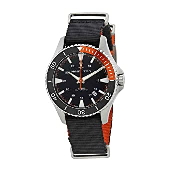 bfdef5e90e9 Image Unavailable. Image not available for. Color  Hamilton H82305931 Black  40mm Stainless-Steel Khaki Navy Scuba Auto Mens Watch