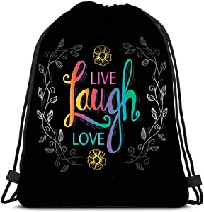 Drawstring Backpack Typography Poster Live Laugh Love Inspirational Quote Laundry Bag Gym Yoga Bag