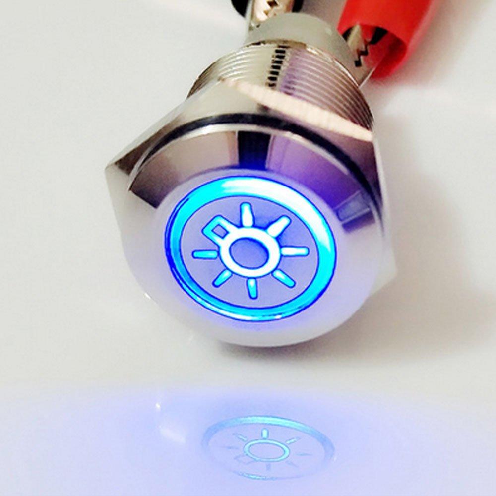 Mintice rostfreier Stahl 19mm KFZ Kippschalter Wippschalter Druckschalter Schalter Drucktaster 12V Blau LED Licht Metall Notfall Gefahr Steckdose Stecker