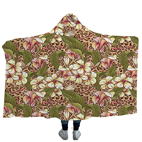 "MASCULINTY Wearable Blanket Leaves Blanket for Women and Men Leaf Pattern Colorful Retro Doodle Style Design Nature Organic Lines Home Decorative (Adults 60""x 80"")"