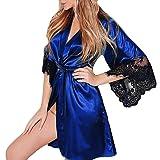 QinMM Albornoz Mujer Satén Camisón Sexy Pijama Vestido Kimono Pijama Ropa de Dormir Bata
