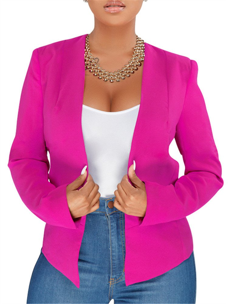 GOBLES Women's Casual Long Sleeve Solid Work Suit Club Party Blazer Jacket Rose