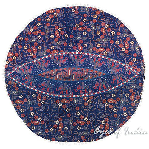 Eyes of India - 32'' Blue Floor Pillow Cushion Seating Throw Cover Mandala Hippie Round Colorful Decorative Bohemian boho dog bed IndianCover Only by Eyes of India (Image #5)