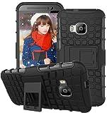 HTC One M9 Hülle Nnopbeclik Hybrid 2in1 TPU+PC Schutzhülle Cover Case Silikon Rüstung Armor Dual Layer Muster Handytasche Backcover 360-Grad-Drehung ständer stoßfest Handy Hülle Tasche Schutz Etui Schale Bumper Pour HTC One M9[Schwarz]