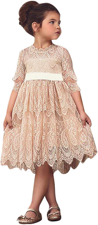 IZHH Kinder Kleider, Kleinkind Kinder Schöne Baby Mädchen Spitze Blume  Prinzessin Tüll Party Pageant Kleider Kleidung 14T-14T Kinder Ärmel Kleid  Spitze
