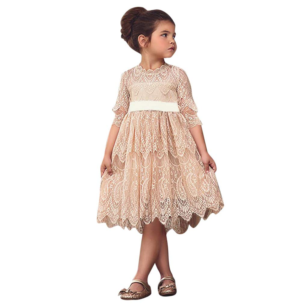 BURFLY Toddler Kids Baby Girl Elegant Lace Floral Tulle Princess Dress Party Pageant Dresse
