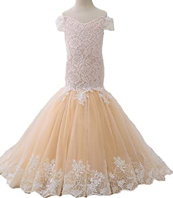 de10b7a5792 Lace Bodice Flower Girl Dress Mermaid Pageant Ball Gown for Girls Champagne