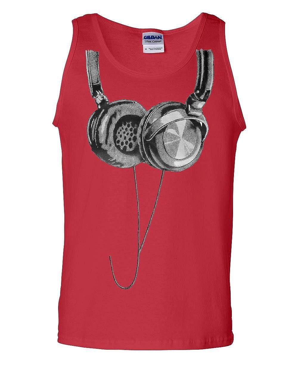 Tee Hunt Huge Hanging Headphones Tank Top DJ Music