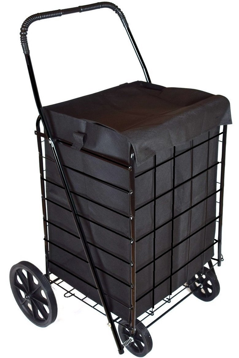 MOD Complete MDC77038 Portable Flat Folding Shopping Cart with Liner, Black