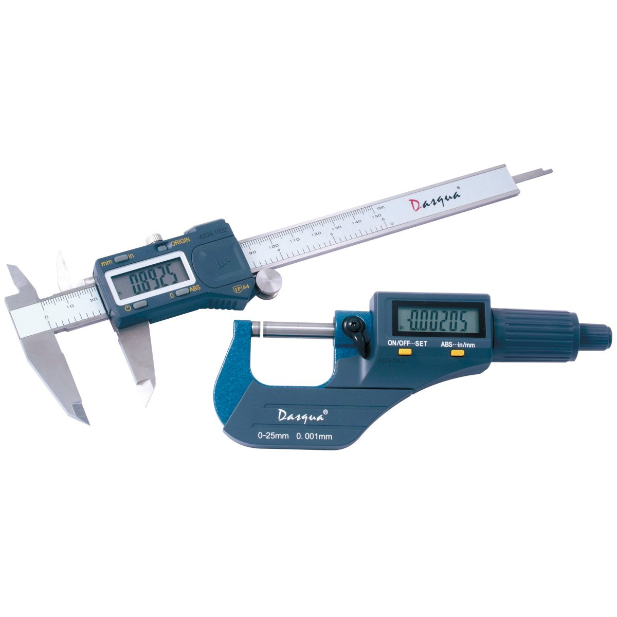 Dasqua 4209-1002 IP54 2 Piece Absolute Electronic Caliper and Micrometer Inspection Tool Kit HHIP
