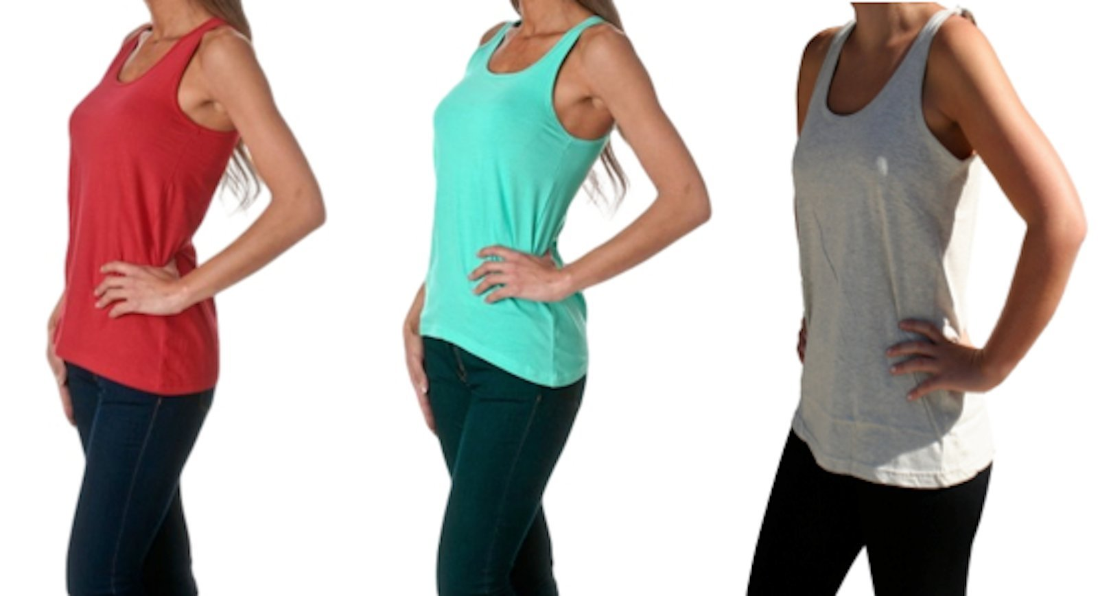 Sofra 3pk Women's Loose Fit Tank Top A-line Relaxed Flowy Style, Solid (L, Red Mint&H.Ash)