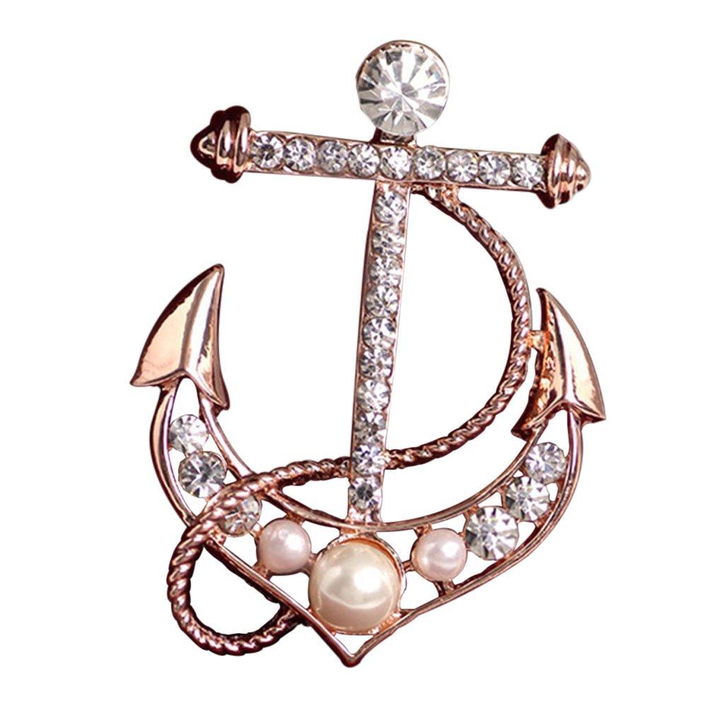 Brawdress Fashion Women Anchor Shape Brooch - Faux Pearl Diamond Dress Pin
