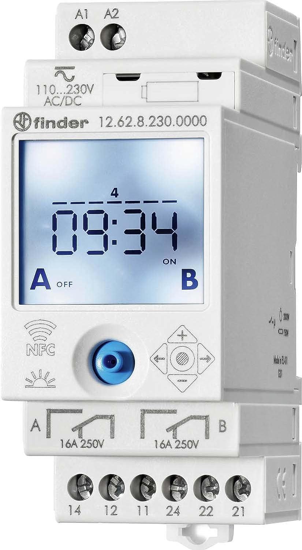 Serie 12 12.62.8.230.0000 90-264 V DC//AC 2 Wechsler 16 A 250 Finder Digitale Wochenzeitschaltuhr