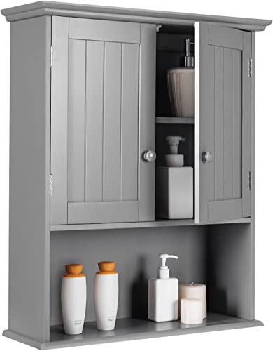 Tangkula Wall Mount Bathroom Cabinet Wooden Medicine Cabinet Storage Organizer