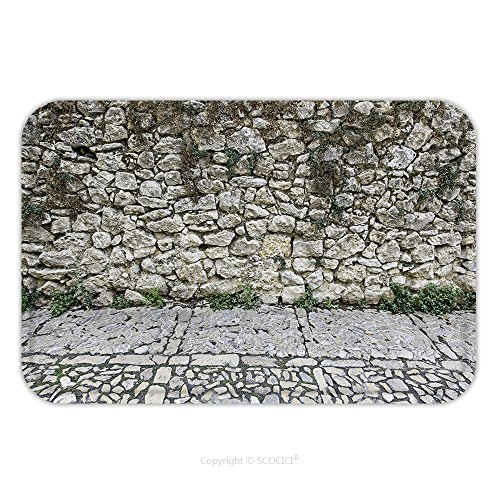 Wall Street Costume Designer (Flannel Microfiber Non-slip Rubber Backing Soft Absorbent Doormat Mat Rug Carpet Old Stone Wall Stone Old Street 350474822 for Indoor/Outdoor/Bathroom/Kitchen/Workstations)