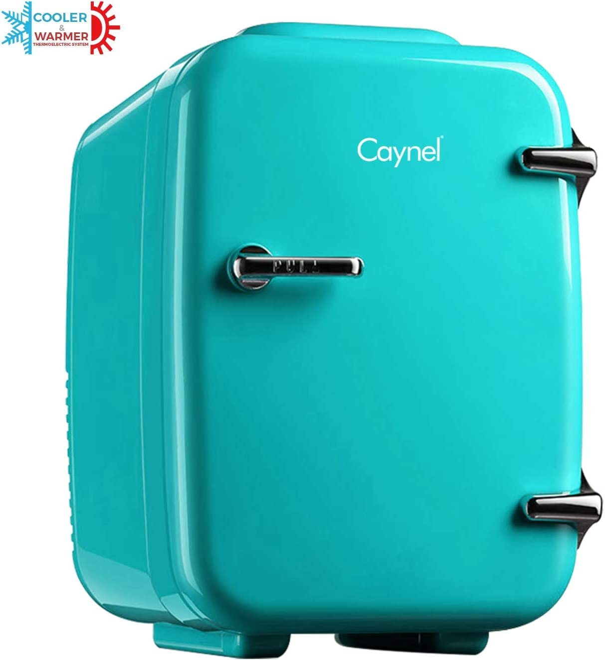 CAYNEL Mini Fridge Cooler and Warmer, (4Liter / 6Can) Portable Compact Personal Fridge, AC/DC Thermoelectric System, 100% Freon-Free Eco Friendly for Home, Office and Car, Includes 100-Pcs Stickers
